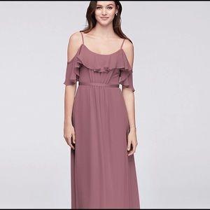 Cold Shoulder crinkle chiffon bridesmaids dress.